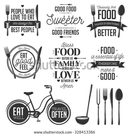 Set of vintage food related typographic quotes. Vector illustration. Kitchen printable design elements. #328413386