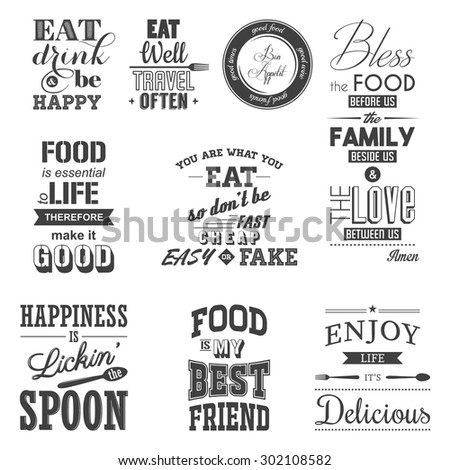 set of vintage food typographic