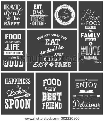 set of vintage food typographic