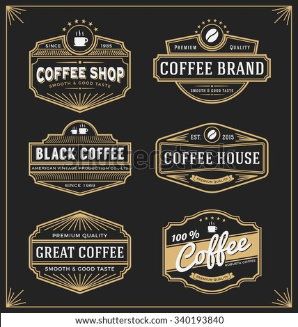Set of vintage frame design for labels, banner, sticker and other design. Suitable for coffee, beverage and premium product. All type use free font.