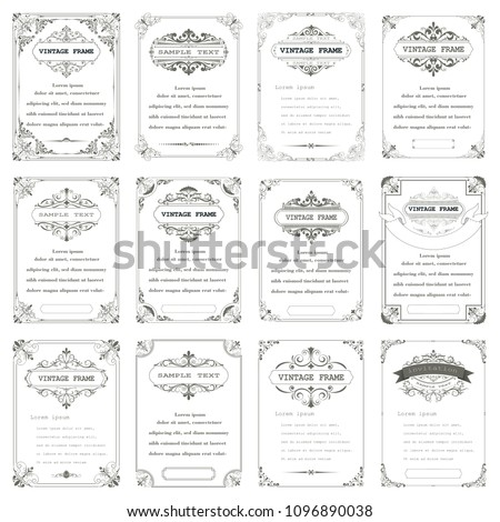 set of vintage frame with beautiful filigree and decorative border or premium invitation cards,vector illustration #1096890038