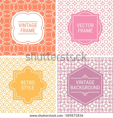 Set of vintage frames in Orange, Pink, Yellow, Purple and Beige on mono line seamless background. Perfect for greeting cards, wedding invitations, retro parties. Vector labels and badges