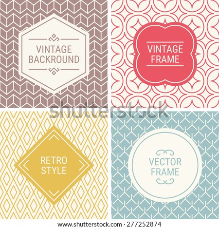 Set of vintage frames in Red, Gold, Blue, Brown and Beige on mono line seamless background. Perfect for greeting cards, wedding invitations, retro parties. Vector labels and badges