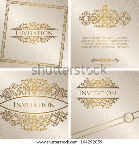 Set of vintage frames Vintage seamless floral background with frame Can be used as invitation