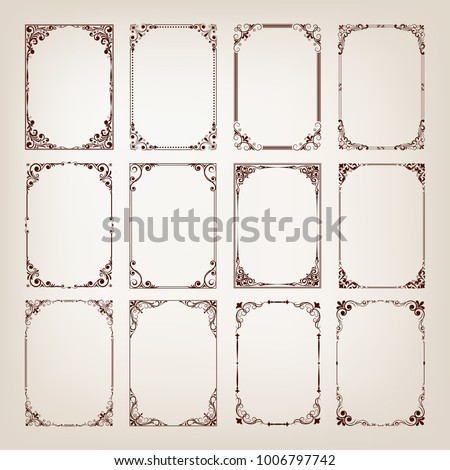 set of vintage frames with beautiful filigree, decorative borders, vector illustration