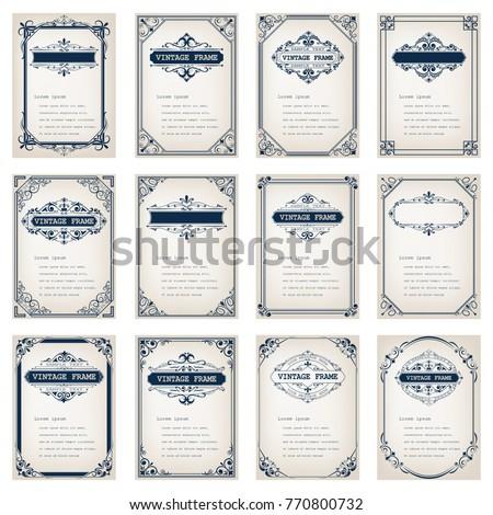 set of vintage frames with beautiful filigree, decorative vintage borders, vector illustration
