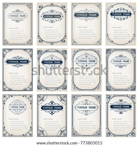 set of vintage frames with beautiful filigree,ornamental frame, decorative vintage borders, vector illustration