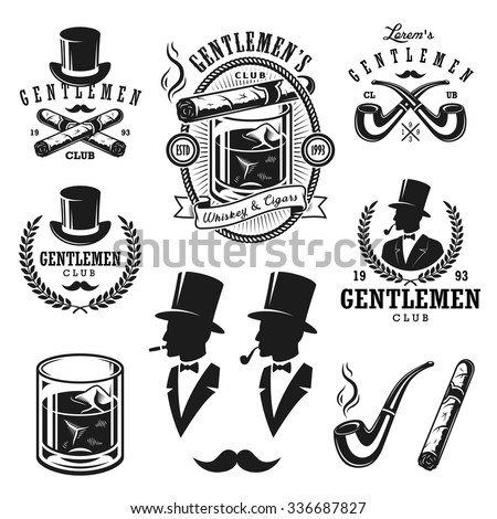 Set of vintage gentleman emblems, labels, badges and designed elements. Monochrome style