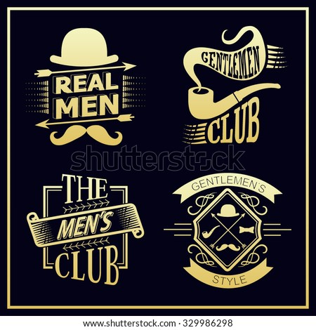 9bfd6fe2a58a97 Set of vintage gentlemen club design elements. Men's emblems - vector set  of Gentlemen's club