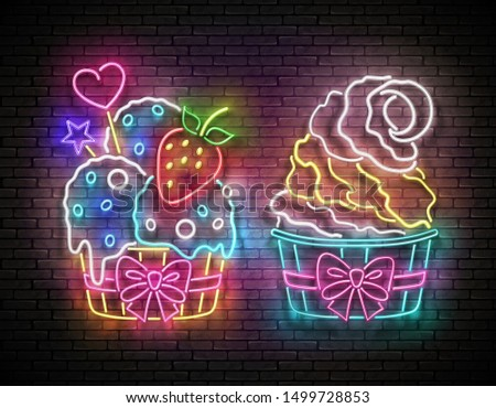 Set of Vintage Glow Signboards with Ice Cream in Paper Cups. Cafe Flyer Template. Neon Light Poster, Banner, Invitation. Brick Wall. Vector 3d Illustration. Clipping Mask, Editable