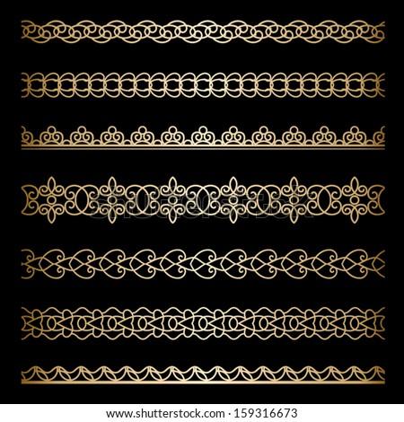 Set of vintage gold borders, ornamental vector dividers on black #159316673