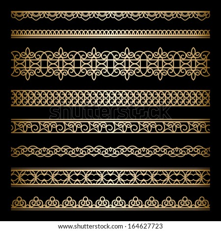 Set of vintage gold borders ornamental vector dividers on black