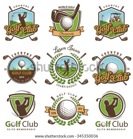 Set of vintage golf emblems,labels, badges and logos.