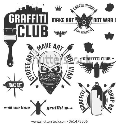 set of vintage graffiti and