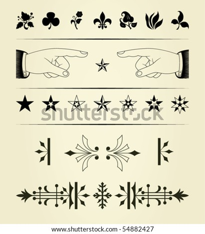 set of vintage graphical elements