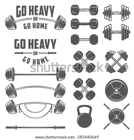Set of vintage gym equipment, quotes and design elements