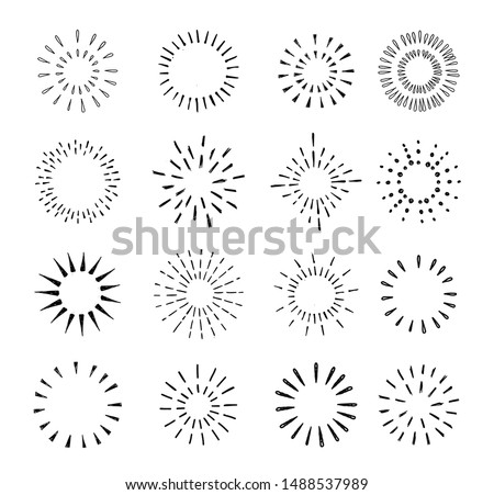 Set of vintage hand drawn sunburst rays design elements, explosion, fireworks black rays, vector illustration.