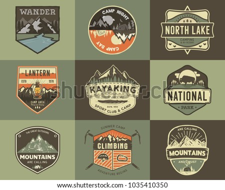 Set of vintage hand drawn travel badges. Camping labels concepts. Mountain expedition logo designs. Retro camp logotypes collection. Stock vector patches isolated.
