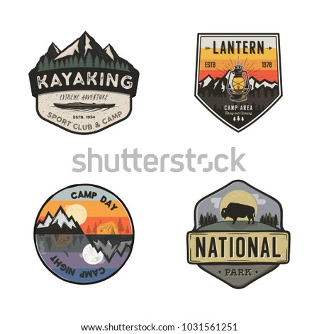 Set of vintage hand drawn travel logos. Hiking labels concepts. Mountain expedition badge designs. Camp logotypes collection. Stock vector retro patches isolated on white background.