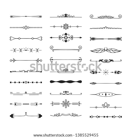Set of vintage hand drawn vector dividers. Calligraphic lines, borders and laurels. Vector isolated ink elements. #1385529455