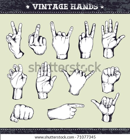 Set of vintage hands. Retro styled design elements. Layered. Vector EPS 10 illustration.