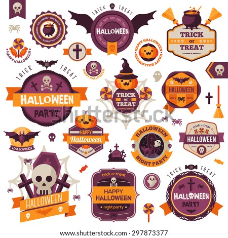Set Of Vintage Happy Halloween Badges and Labels. Vector illustration.