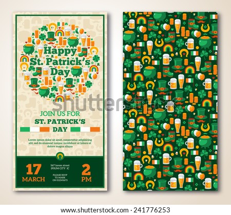 Set Of Vintage Happy St. Patrick's Day Greeting Card or Flyer. Vector illustration. Party Invitation Design with Irish Elements Pattern. Typographic Template for Text.