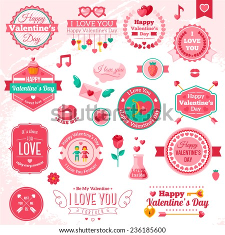 set of vintage happy valentine