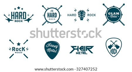set of vintage hard rock badges