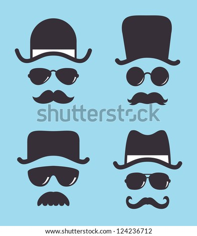 set of vintage hat sunglasses and mustache