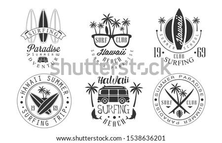set of vintage hawaii logos