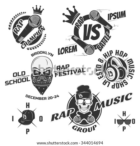 Set of vintage hip hop and rap emblems, labels and design elements. Monochrome style.