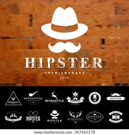 set of vintage  hipster badges...