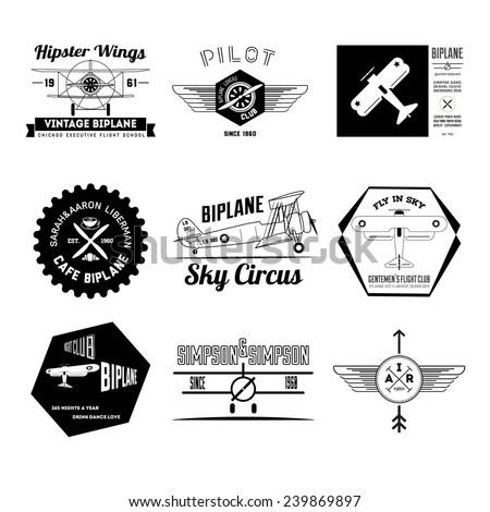 set of vintage hipster biplane