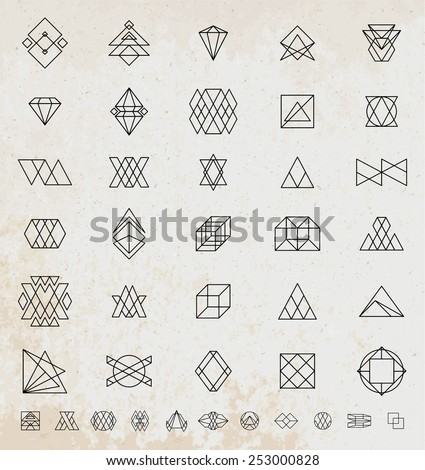 Set of Vintage Hipster Labels Retro Borders Collection Old Paper Texture Background Sunburst and Light Ray Vector Elements Graphic Eye Arrows Ribbons Borders Flowers and Frames