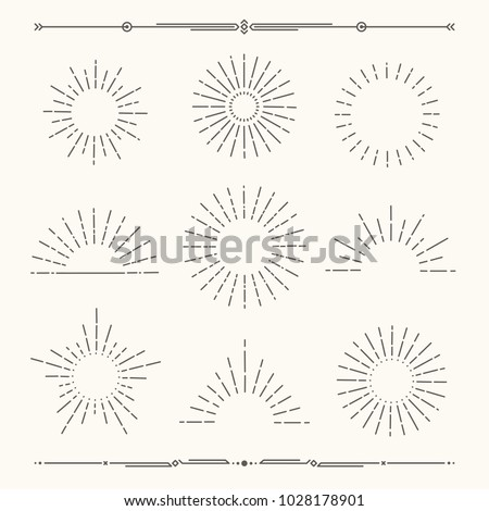 Set of vintage, hipster sunburst shapes. Shine sun ray set.  Sunset icon collection. Trendy hand drawn retro bursting rays design. Hipster banner elements.  Radiant sun flashes. Vector illustration.