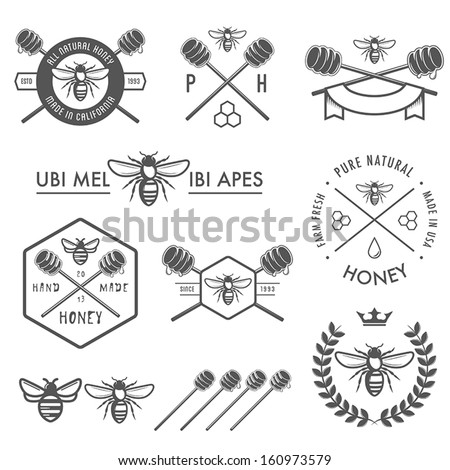 Set of vintage honey labels, badges and design elements