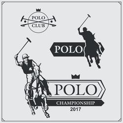 Set of vintage horse polo club labels, emblems, badges and design elements.