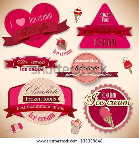 Ice Cream Shops Logos Set of Vintage Ice Cream Shop
