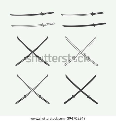 Set of vintage katana swords in retro style. Vector illustration