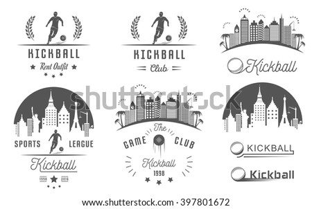 set of vintage kickball labels