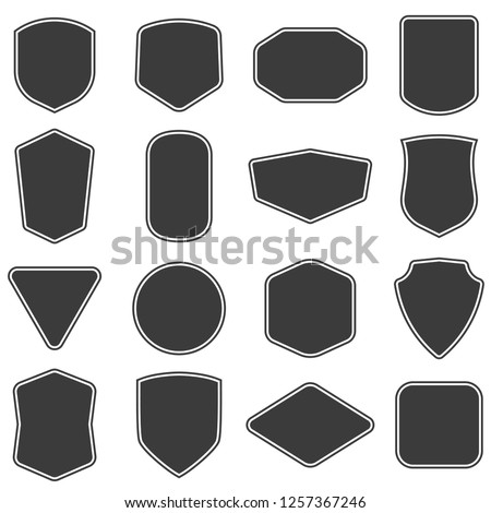 Set of vintage label and badges shape collections. Vector illustration. Black template for patch, insignias, overlay.