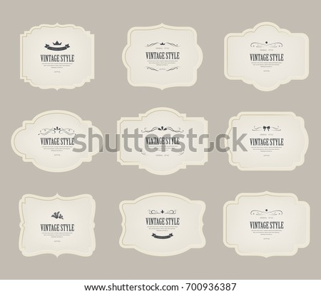 set of vintage label and old fashion classic design. illustration vector.