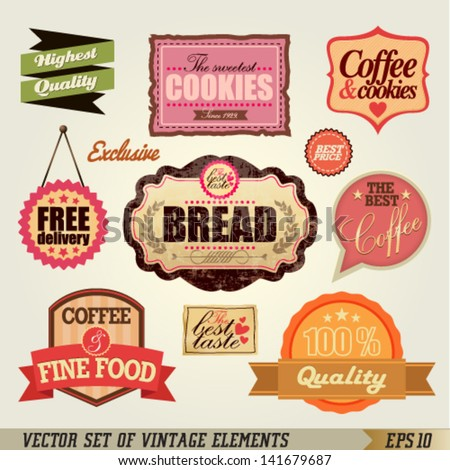 Set of Vintage Labels and Ribbons design. Graphic Design Editable For Your Design.