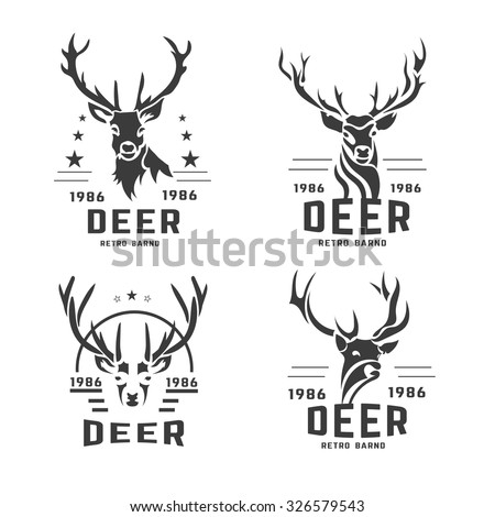 Set of vintage labels, badges logo design elements. Deer head, artistic emblems. Stylized collection wild animal. Vector illustration.