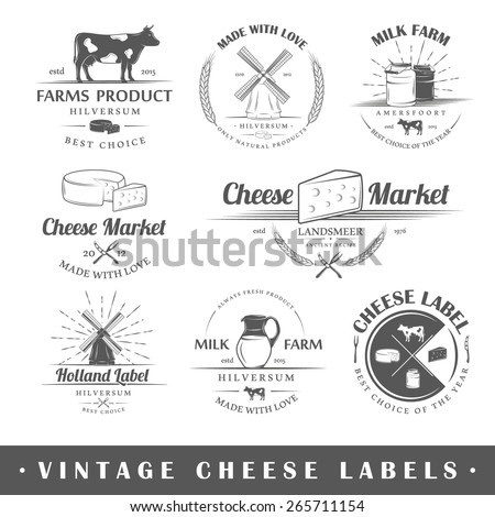 Set of vintage labels cheese. Posters, stamps, banners and design elements. Vector illustration