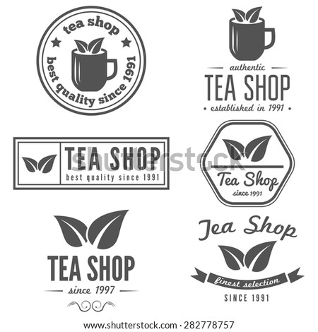 Set of vintage labels, emblems, and logo templates of coffee shop, tea shop, cafe, cafeteria, bar or restaurant