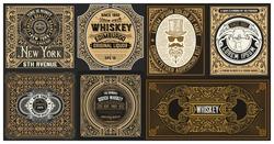 Set of 6 vintage labels for packing