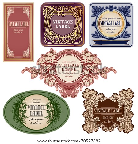 set of vintage labels isolated over white