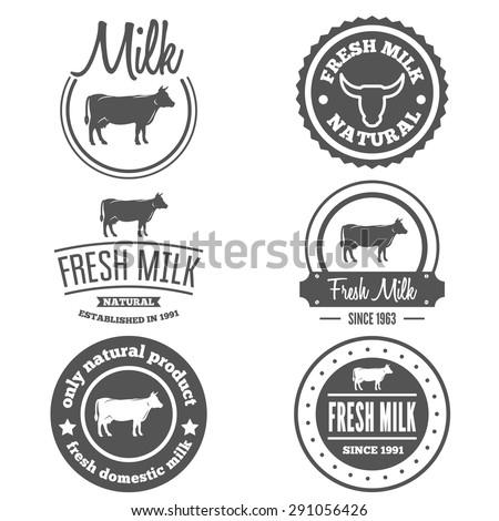 Set of vintage labels, logo, emblem templates of milk